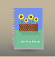 cover of diary sunflower garden vector image vector image