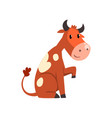 cute friendly brown spotted cow cartoon character vector image