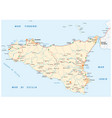detailed road map island sicily italy vector image vector image