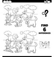 differences coloring game with dogs characters vector image vector image