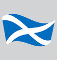 flag of scotland waving on gray background vector image