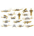 flight airline planes icons aviation fly airport vector image vector image