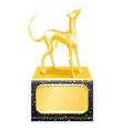 golden trophy dog racing vector image vector image