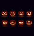 halloween carved pumpkin face emotions set jack o vector image