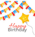 happy birthday greeting on banner with balloon in vector image vector image