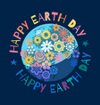 happy earth day poster greeting text written vector image