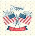 happy veterans day usa crossed flags fireworks vector image vector image