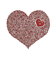 Heart-shaped design element made of red pearls vector image vector image