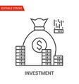 investment icon thin line vector image vector image