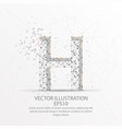 letter h form low poly wire frame on white vector image vector image