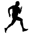 male runner black silhouette vector image vector image