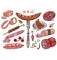 meat food sausage and steak for bbq and picnic vector image vector image