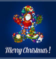 merry christmas gingerbread greeting card vector image