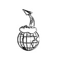 Monochrome blurred silhouette of earth globe and vector image