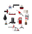 oil production icons set cartoon style vector image vector image