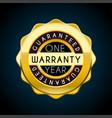 one year warranty golden badge guarantee label vector image vector image