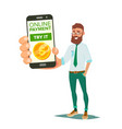online mobile payment smiling businessman vector image vector image
