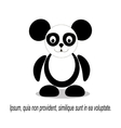 panda black and white logo vector image vector image