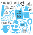 save planet collection zero waste reusable vector image