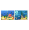 sealife cards ocean animals fish octopus banners vector image