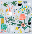 seamless pattern with flowers in pots palm branch vector image