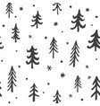 seamless stylish pattern with cute hand drawn pine vector image vector image