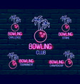 set neon logos in pink-blue colors collection vector image vector image