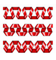set of red decorative ribbons vector image
