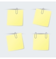 set yellow sheets attached clip vector image