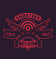 shooting club logo with guns crossed shotguns vector image vector image