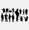 soldier army silhouette vector image vector image