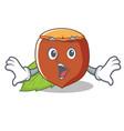 surprised hazelnut mascot cartoon style vector image vector image