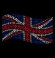 waving great britain flag pattern of collide vector image vector image