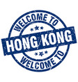 welcome to hong kong blue stamp vector image vector image