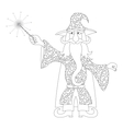 Wizard with magic wand outline vector image