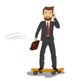 young businessman riding his skateboard vector image vector image