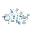 Thin line flat design banner of education web page vector image