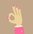 OK girl finger sign vector image