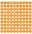 100 hi-tech icons set orange vector image vector image