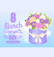 8 march womens day poster with bouquet of rose vector image vector image