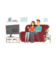 a couple resting in front of tv - cartoon people vector image vector image