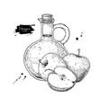 apple vinegar drawing hand draw vector image vector image