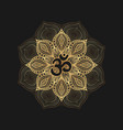 black om symbol on golden floral pattern vector image