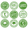 carbon neutral co2 rubber ink grunge stamp green vector image vector image