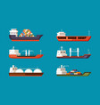cargo ships set large transport water carriers vector image vector image