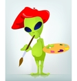 Cartoon Painter Alien vector image