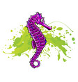 cartoon watercolor seahorse isolated on white vector image vector image
