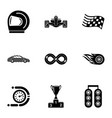chauffeur icons set simple style vector image vector image