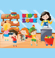 children buying things in kids zone vector image vector image