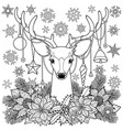 christmas deer outline composition vector image vector image